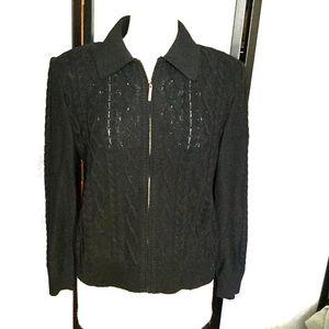 St John Sport black zippered cardigan M